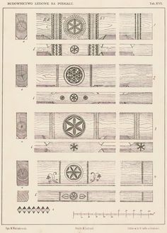 """Motif of a rozeta (rosette), also called kwiat życia (flower of life), is a protective symbol commonly used in Polish folk architecture and woodwork.   Examples above show carvings decorating beams inside cottages in the region of Podhale (southern Poland). Source: Władysław Matlakowski """"Budownictwo ludowe na Podhalu"""", 1892."""