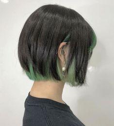 Hidden Hair Color, Cool Hair Color, Ash Green Hair Color, Short Green Hair, Short Hair, Shot Hair Styles, Curly Hair Styles, Hair Color Underneath, Blonde Underneath