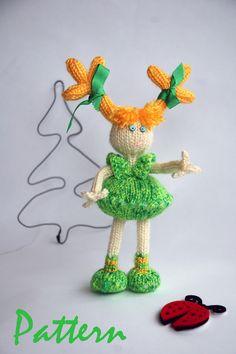Spring Dandelion Doll  knitting pattern knitted round par deniza17, $6,00