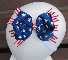 Stars and Stripes 4th of July Bow by BaileysBowtique1 on Etsy, $4.50