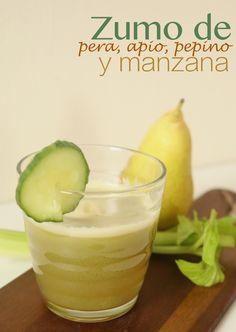 jugo de manzana, apio, pera, muy saludable