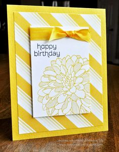 Stampin' Up! handmade card ... Regarding Dahlias ... from Card Creations by Beth ... monochrimatic deep yellow ... three layered panel design ... like the striped paper showing in a wide margin mat .. off the edge/corner stamped flower ... sunshine happy look ...
