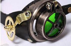 Lunettes goggles steampunk noir lentilles réglables et couleur changeable   Shop : www.japanattitude.fr