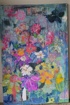Would be beautiful in my living room Mixed media acrylic floral 8x10 print  by BohemianBluArt, $18.00