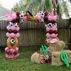 Cowgirl theme balloon arc  So adorable for a western theme decoration.