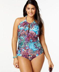 plus size halter one-piece swimsuit | plus size fashion
