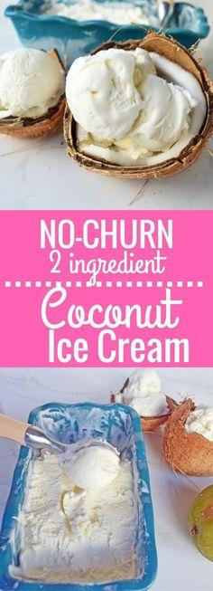 Homemade No-Churn Coconut Cream Ice Cream made with only two ingredients. Super easy creamy coconut ice cream using only canned coconut milk and heavy cream. www.modernhoney.com