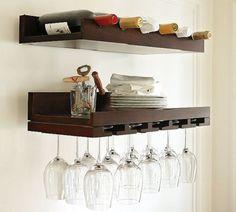 set mensole cantinetta porta calici e portabottiglie in vero legno massello