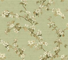 York Wallcoverings Charlotte Apple Blossom Trail x Botanical / Foliage Roll Wallpaper Color: Tan/Brown/Cream/Yellow/Gray/Green Wallpaper Roll, Wall Wallpaper, Pattern Wallpaper, Prepasted Wallpaper, Wallpaper Designs, Wallpaper Ideas, Wallpaper Warehouse, Green Books, Traditional Wallpaper