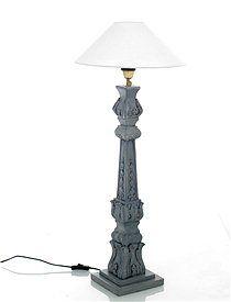Tischlampe Klassische, elegante Tischlampe in grau, mit schönen Schnitzereien und hellem Lampenschirm (Leuchtmittel nicht im Lieferumfang).