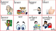 Norsk verbs Norwegian Words, Norway Language, Tips & Tricks, Comics, Learning, Languages, Chinese, People, Activities
