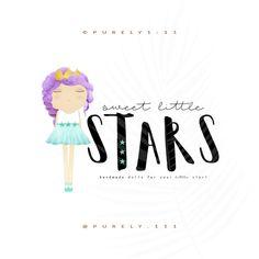 Modern Handmade Princess Crown Rag Doll Stars Logo Boutique Logo Photography Watermark Logo Pre-made Logos Design Handmade Small Business