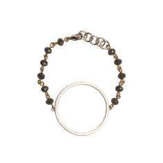 Silver Circle Cutout on Grey Beaded Bracelet