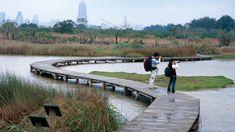 Minghu Wetland Park, Lake & path details - Hong Kong, Cina