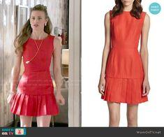 Paige's red pleated drop waist dress on Royal Pains.  Outfit Details: https://wornontv.net/50648/ #RoyalPains