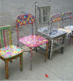 Handpainted whimsical chairs by June McCloskey. / Nikon Coolpix point and shoot camera. / For wonderfully unique chairs or a little table, send inquiries by RB Mail. / - The Artist – June McCluskey Hand Painted Chairs, Funky Painted Furniture, Paint Furniture, Upcycled Furniture, Furniture Makeover, Cool Furniture, Painted Tables, Antique Furniture, Painted Rocking Chairs