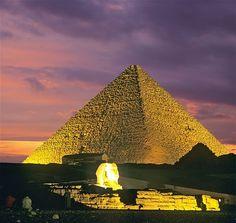 Giza pyramid complex at nightfall, near Cairo, Egypt
