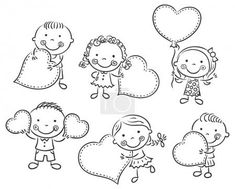 Cartoon kids with blank signs in the form of hearts — Stock Illustration Cartoon Clip, Cartoon Kids, Art Drawings For Kids, Easy Drawings, Stone Drawing, Valentine Coloring Pages, Blank Sign, Cartoon Sketches, Stick Figures