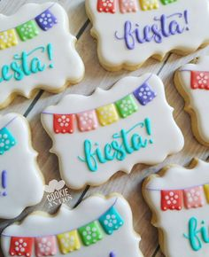 Adorable cookies for your Fiesta Theme Party! Cookies Cupcake, Fancy Cookies, Iced Cookies, Cute Cookies, Birthday Cookies, Royal Icing Cookies, Sugar Cookies, Cupcakes, Mexican Birthday Parties