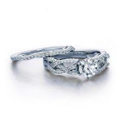 1-1/3 CT. T.W. Diamond Woven Shank Bridal Set in 14K White Gold