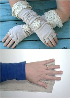 Linen And Lace Fingerless Gloves - 50 Amazingly Creative Upcycling Projects For Old Sweaters