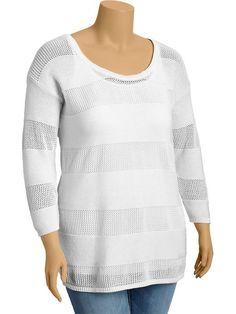 Old Navy   Women's Plus 3/4-Sleeve Open-Knit Sweaters