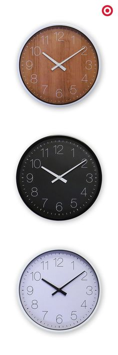 Is it time for something new? Loving these minimal wall clocks that offer white, black or wood backgrounds and modern design elements that will give any room an upgrade.