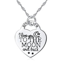 Valentine's Day I Love You to the Moon and Back Heart Pendant Necklace