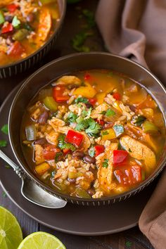(Skip the optional cheese and sour cream, saute in broth instead of oil, and ladle each serving over 1 cup cooked brown rice) Chicken Fajita and Rice Soup