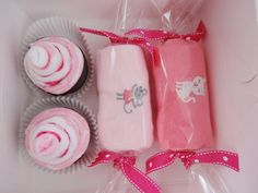 Baby Girl Gift Washcloth Cupcakes Candies Box by babydelights1, $17.99