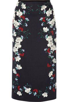 ERDEM Maira Floral-Print Silk-Satin Midi Skirt. #erdem #cloth #skirt