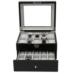 Store up to 20 watches in this wood watch box. Available in black, it is crafted from the finest wood and features a glass window. FREE SHIPPING when you order on Tech Swiss