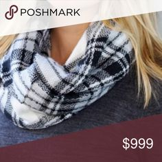 Plaid Infinity Scarf Beautiful infinity plaid scarf!! White, black, and silver.  100% acrylic  Size: Opened up 22 in. wide. ‼️No Trades or Holds‼️ 🚨Price is FIRM unless bundled🚨 Boutique Accessories Scarves & Wraps