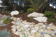 Native Style Garden Design - Dry River Bed - Large Sandstone Feature Boulders, Australian Native Plants, Neapean River Pebbles Dry River, Garden Edging, Landscape Design, Garden Landscaping, Relax, Front Yard Landscaping, Garden Borders, Landscape Designs