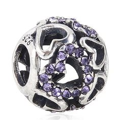 Babao Jewelry Hollow Love Heart Purple CZ Crystals 925 Sterling Silver Bead fits Pandora Style European Charm Bracelets *** Check this awesome image  : Jewelry Charm Bracelets