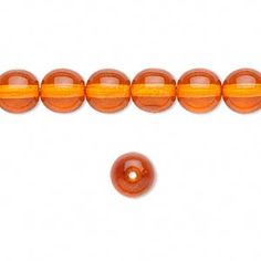Bead, Preciosa® Czech dipped décor glass druk, orange, 8mm round. Sold per 16-inch strand.