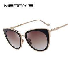 2cae5b1774ba4 MERRY S Cat Eye Women Sunglasses Female Sunglasses Famous Brand Designer  Alloy Legs Glasses oculos de sol