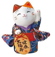 Japan Beckoning Cat Maneki Neko Lucky Kimono ❤ Left Hand for Health Y7418