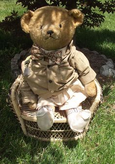 "ADORABLE LARGE ANTIQUE GOLDEN MOHAIR JOINTED TEDDY BEAR LONG SNOUT 26"" TALL"