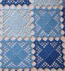 Toalha de crochê quadrada azul
