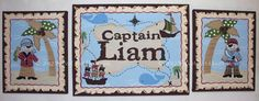 Pirate Pirates Cove custom personalized canvas name sign wall art 3 paintings HANDPAINTED BOY ship treasure map brown