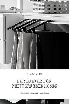 Der neuartige Halter für knitterfreie Aufbewahrung Ihrer Hosen #hosenhalter #hosen #ordnung #kleiderschrank #peka Halter, Trends, Walk In Wardrobe Design, Hang In There, Trousers, Beauty Trends