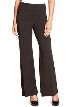 Wide Waistband Flat Front Peplum Bootleg Trousers - Marks & Spencer