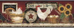 Tapeten Borte USA York Motiv Huhn rotbraun weiss rot gelb online kaufen