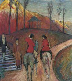fuckyeahexpressionism: Marianne von Werefkin, Landscape with Horse and Rider (Landschaft mit Reiter und Reiterin), c. 1927