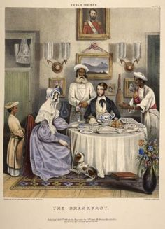 From the Untold Lives blog post 'British Interiors in 19th Century India'. Image: 'The Breakfast', William Tayler, Sketches Illustrating the Manners & Customs of the Indians and Anglo-Indians (1842).