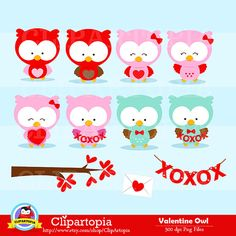 San valentin buhos digital clipart SAN VALENTIN por ClipArtopia