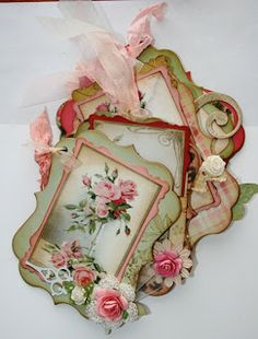 Items similar to Shabby Chic Pink Roses collage sheet for scrapbook and cards on Etsy