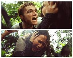 i got this: Peeta is trying to tell Katniss to calm down that its okay but hes yelling cuz hes on the otherside of the wall and Katniss is listening to Prim and Gale, etc be tortured through the jabberjays