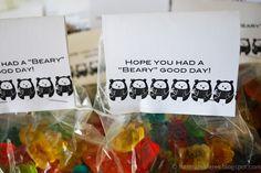 easy gummi bear packaging.  easy DIY bear themes.  Girls camp themes.  husband and harmony